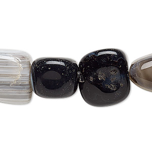Bead, Black Agate Grey Agate (dyed), Small Medium Tumbled Nugget, Mohs Hardness 6-1/2 7. Sold Per 15-inch Strand