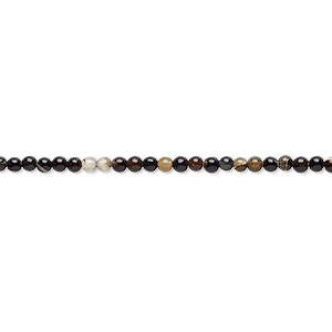 Bead, Black Agate (dyed), 2mm Round, B Grade, Mohs Hardness 6-1/2 7. Sold Per 15-inch Strand