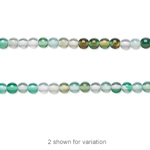 Bead, Green Agate White Agate (natural / Dyed), 2-3mm Round, C Grade, Mohs Hardness 6-1/2 7. Sold Per 15-inch Strand