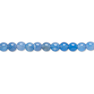 Bead, Blue Agate (dyed), 4-5mm Round, B- Grade, Mohs Hardness 6-1/2 7. Sold Per 15-inch Strand