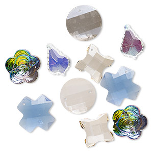 Component Mix, Glass, Mixed Colors, 18-30mm Mixed Shape. Sold Per Pkg (5) 2-piece Sets