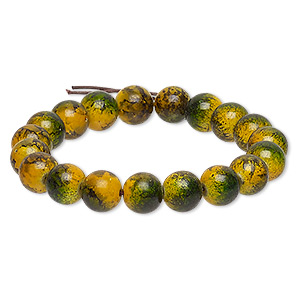 Bracelet, Stretch, Coated Glass, Opaque Yellow Green, 9-10mm Mottled Round, 6-1/2 Inches. Sold Individually F2154CL