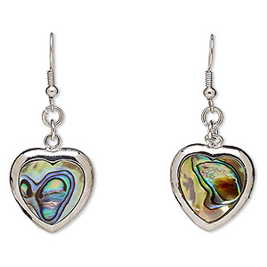 Fishhook Earrings Paua Shell Multi-colored