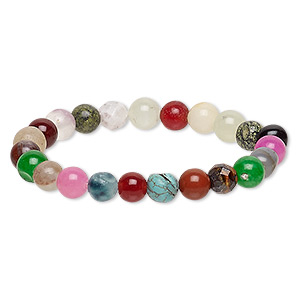 Bracelet, Stretch, Multi-gemstone (natural / Dyed / Irradiated), Multicolored, 8-9mm Round, 7 Inches. Sold Individually F2454CL