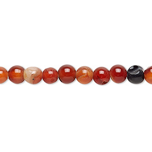 Bead, Multi-agate (dyed / Heated), 5-6mm Uneven Round, C- Grade, Mohs Hardness 6-1/2 7. Sold Per 13-inch Strand