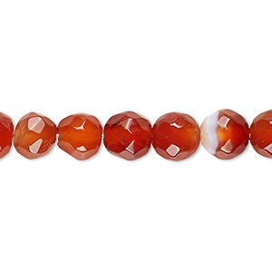 Bead, Red Agate (dyed / Heated), 7-8mm Faceted Round, B- Grade, Mohs Hardness 6-1/2 7. Sold Per 13-inch Strand