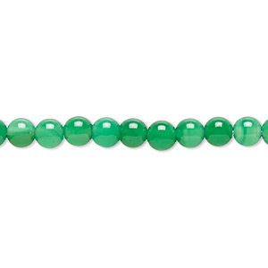 Bead, Green Agate (dyed), 5mm Round, B- Grade, Mohs Hardness 6-1/2 7. Sold Per 15-inch Strand
