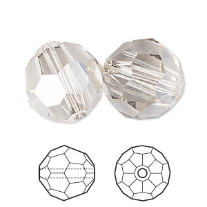 Bead, Swarovski® Crystals, Crystal Silver Shade, 10mm Faceted Round (5000). Sold Per Pkg 2 5000