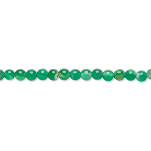 Bead, Green Agate (dyed), 3mm Round, B- Grade, Mohs Hardness 6-1/2 7. Sold Per 15-inch Strand