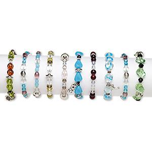 Bracelet Mix, Stretch, Glass / Steel / Plastic, Multicolored, 3-16mm Multi-shape, 7 Inches. Sold Per Pkg 10 F3661CL