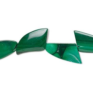 Bead, Malachite (natural), 17x9mm-19x11mm Freeform, B Grade, Mohs Hardness 3-1/2 4. Sold Per 8-inch Strand