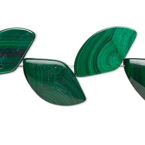 Bead, Malachite (natural), 20x11mm-24x14mm Freeform, B Grade, Mohs Hardness 3-1/2 4. Sold Per 8-inch Strand