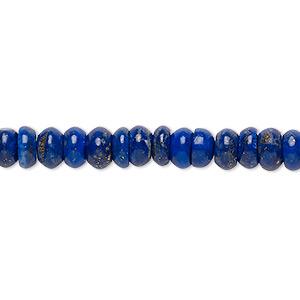 Bead, Lapis Lazuli (natural), 6x2mm-7x4mm Rondelle, B Grade, Mohs Hardness 5 6. Sold Per 15-inch Strand