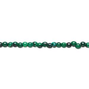 Bead, Malachite (natural), 2-3mm Round, C Grade, Mohs Hardness 3-1/2 4. Sold Per 15-inch Strand