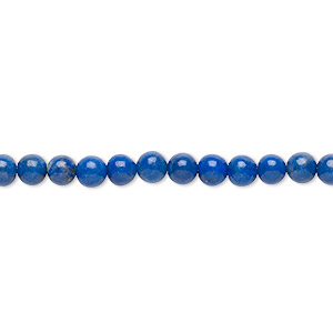 Bead, Lapis Lazuli (natural), 4-5mm Round, C Grade, Mohs Hardness 5 6. Sold Per 15-inch Strand