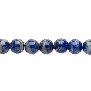Bead, Lapis Lazuli (natural), 7-8mm Round, C Grade, Mohs Hardness 5 6. Sold Per 15-inch Strand