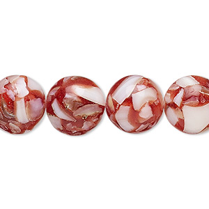 Bead, Mother-of-pearl Shell Resin (assembled), Red, 12-13mm Round. Sold Per 15-inch Strand