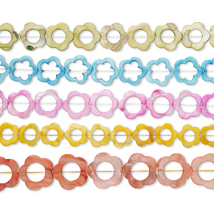 Bead Mix, Mother-of-pearl Shell (dyed), Mixed Colors, 20x20mm-31x31mm Flat Flower Open Flower 10-16mm Cutout, Mohs Hardness 3-1/2. Sold Per Pkg (5) 15-inch Strands
