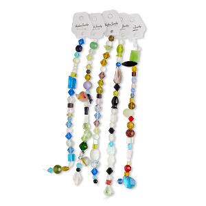 Bead Mix, Glass, Transparent / Translucent / Opaque Mixed Colors, 5mm-23x19mm Mixed Shape. Sold Per Pkg (5) 8-inch Strands