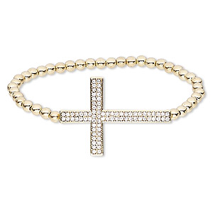 "Bracelet, Stretch, Glass Rhinestone / Gold-coated Plastic / Gold-finished ""pewter"" (zinc-based Alloy), Clear, 26mm Wide 36.5x26mm Cross, 6 Inches. Sold Individually"