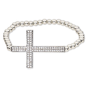 """Bracelet, Stretch, Glass Rhinestone / Silver-coated Plastic / Silver-finished """"pewter"""" (zinc-based Alloy), Clear, 26mm Wide 36.5x26mm Cross, 7-1/2 Inches. Sold Individually"""