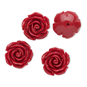 Bead, Resin, Opaque Dark Red, 12x12mm Half-drilled Flower. Sold Per Pkg 4