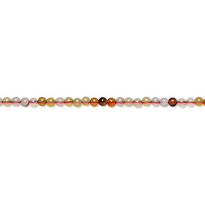 Bead, Multi-agate (dyed / Heated), 2mm Round, B- Grade, Mohs Hardness 7. Sold Per 16-inch Strand