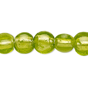 Bead, Lampworked Glass, Apple Green Silver-colored Foil, 10-11mm Puffed Flat Round. Sold Per 16-inch Strand