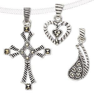 Pendant Mix, Marcasite (natural) Antiqued Sterling Silver, 10x10mm-64x44mm Mixed Shape. Sold Per Pkg 3