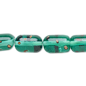 Bead, Lampworked Glass, Teal Green Multicolored, 14x9mm-16x11mm Capsule Spots. Sold Per 16-inch Strand