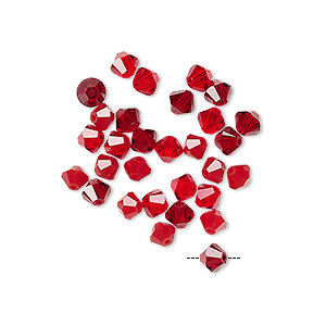 Bead Mix, Swarovski® Crystals, Garnet Light Siam, 4mm Xilion Bicone (5328). Sold Per Pkg 30 5328
