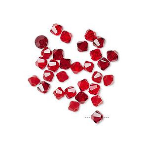 Bead Mix, Swarovski® Crystals, Garnet Light Siam, 4mm Xilion Bicone (5328). Sold Per Pkg 30 5328