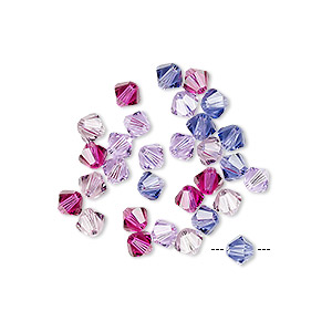 Bead Mix, Swarovski® Crystals, Purple Haze, 4mm Xilion Bicone (5328). Sold Per Pkg 30 5328