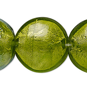 Bead, Lampworked Glass, Translucent Apple Green Silver-colored Foil, 29-30mm Puffed Flat Round. Sold Per 8-inch Strand