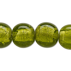 Bead, Lampworked Glass, Moss Green Silver-colored Foil, 16x14mm-19x17mm Uneven Puffed Flat Round. Sold Per 15-inch Strand