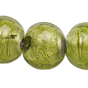 Bead, Lampworked Glass, Moss Green Silver-colored Foil, 23-25mm Domed Round. Sold Per 15-inch Strand