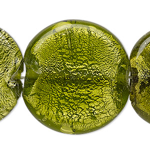 Bead, Lampworked Glass, Moss Green Silver-colored Foil, 32-34mm Flat Round. Sold Per 16-inch Strand
