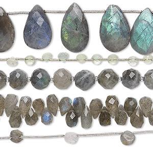 Bead Mix, Labradorite Prehnite (natural), 4mm-22x12mm Hand-cut Mixed Shape, C+ Grade, Mohs Hardness 6 6-1/2. Sold Per Pkg (5) 8-inch Strands