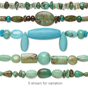 Bead Mix, Magnesite (dyed / Stabilized), Multicolored, 4mm-40x15mm Mixed Shape, Mohs Hardness 3-1/2 4. Sold Per 4-inch Strand