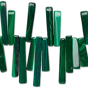 Bead, Malachite (natural), 17x3mm-30x5mm Top-drilled Flat Stick, B Grade, Mohs Hardness 3-1/2 4. Sold Per 15-inch Strand