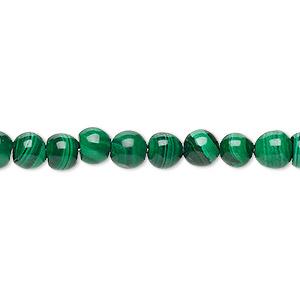 Bead, Malachite (natural), 5-6mm Uneven Round, B Grade, Mohs Hardness 3-1/2 4. Sold Per 15-inch Strand