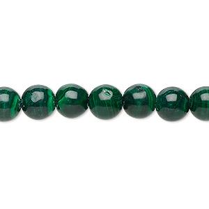 Bead, Malachite (natural), 7-8mm Round, C Grade, Mohs Hardness 3-1/2 4. Sold Per 15-inch Strand