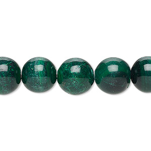 Bead, Malachite (natural), 11-12mm Round, C Grade, Mohs Hardness 3-1/2 4. Sold Per 8-inch Strand