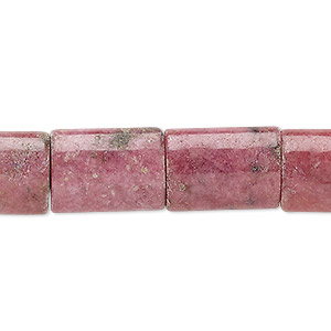 Bead, Rhodonite (natural), 16x12mm Puffed Rectangle, C Grade, Mohs Hardness 5-1/2 6-1/2. Sold Per 16-inch Strand