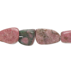 Bead, Rhodonite (natural), Small Medium Tumbled Nugget, Mohs Hardness 5-1/2 6-1/2. Sold Per 15-inch Strand