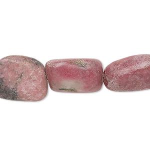 Bead, Rhodonite (natural), Medium Large Tumbled Nugget, Mohs Hardness 5-1/2 6-1/2. Sold Per 15-inch Strand