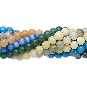 Bead Mix, Multi-gemstone (natural / Dyed / Stabilized / Imitation) Glass, Multicolored, 3-4mm Round Faceted Round, Mohs Hardness 3 7. Sold Per Pkg (10) 7-inch Strands