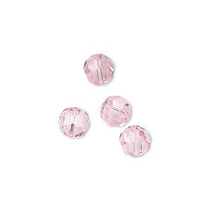 Bead, Swarovski® Crystals, Light Rose, 7mm Faceted Round (5000). Sold Per Pkg 4 5000