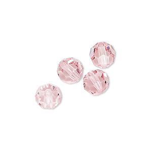 Bead, Swarovski® Crystals, Light Rose, 8mm Faceted Round (5000). Sold Per Pkg 4 5000