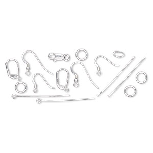 Earwire / Eyepin / Jumpring / Clasp / Bail, Fishhook / Lobster Claw / Snap-on, Sterling Silver-filled, Assorted Size Shape. Sold Per 13-piece Set